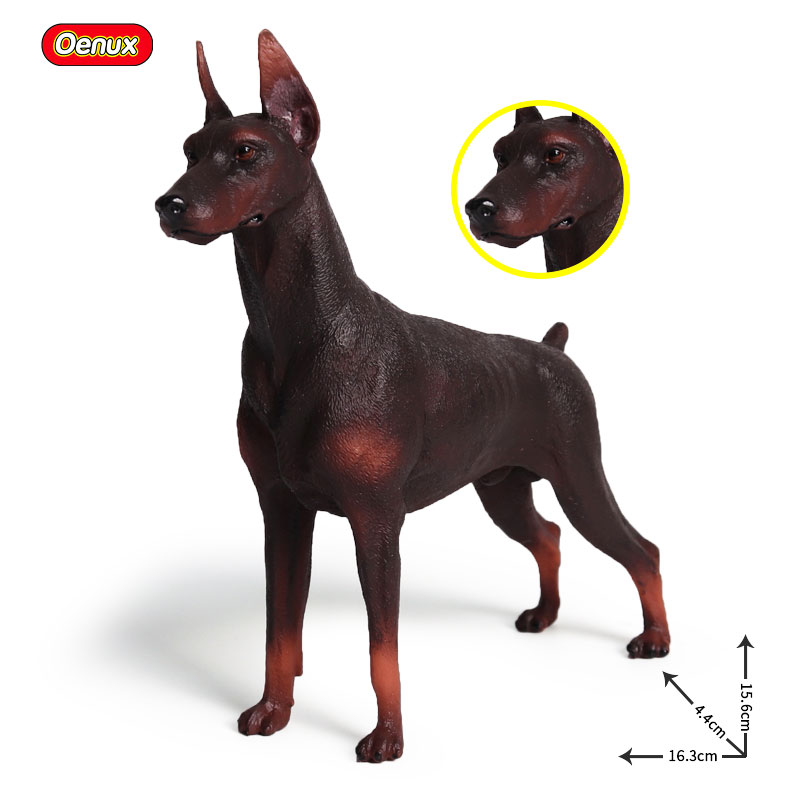 Oenux Simulation Doberman Pinscher Animal Model Posture Standing Guard Dog Action Figures PVC Lifelike Static Model Toys Gift