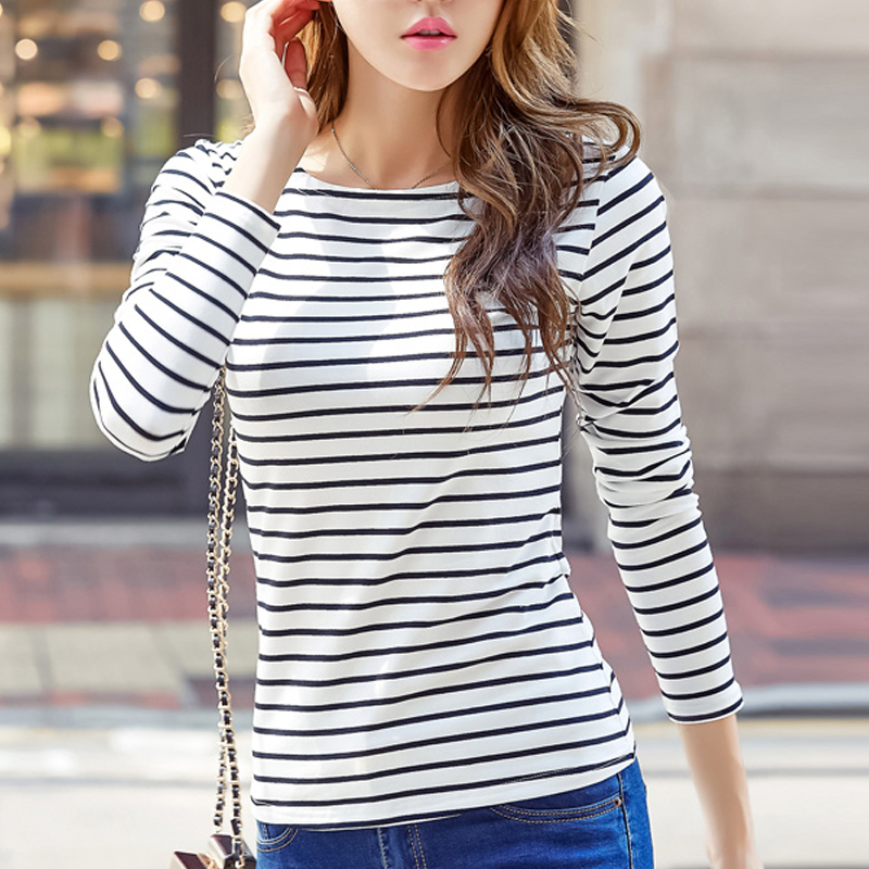 Cotton T shirt Women 2019 New Autumn Long Sleeve O Neck Striped Female T Shirt White green pink Casual Basic Classic Tops 180A3 in T Shirts from Women 39 s Clothing