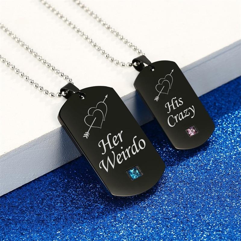 AZIZ-BEKKAOUI-Weirdo-Crazy-Stainless-Steel-Couple-Necklaces-with-Stone-Black-Tag-Pendant-Necklace-Promise-Jewelry