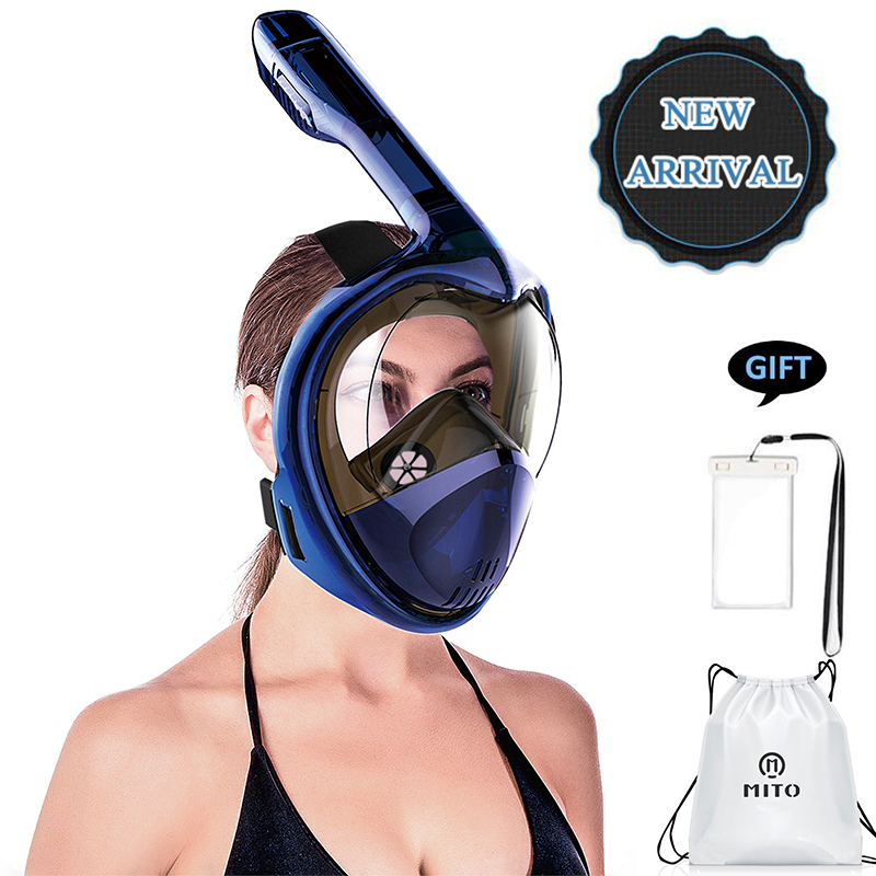 все цены на 2018 Full Face Snorkeling Masks Panoramic View Anti-fog Anti-Leak Swimming Snorkel Scuba Underwater Diving Mask GoPro Compatible онлайн