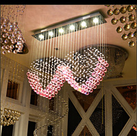 Fashion LED K9 Crystal Lamp Contemporary And Contracted Type Love Pink Crystal Chandelier 30w 6 Light