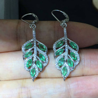 Qi Xuan_Maple Leaf S925 Silver Inlaid Columbia Green Stone Earrings Precious Green Stone Women's Jewelry Factory Direct Sales