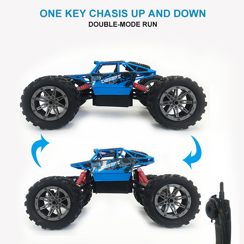 4WD 1/16 Electric RC Car One Key Chasis Up and Down Rock Crawler Remote Control Car 4x4 Drive Off Road Vehicle Toys for Children