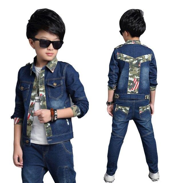 Boys Clothing Sets Camouflage Denim Jackets For Boys Jeans 2pcs Set