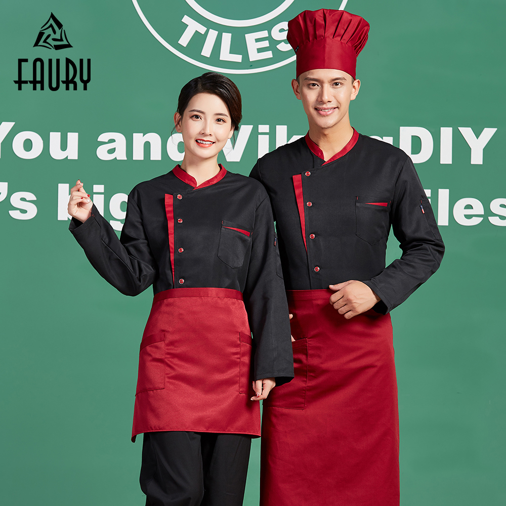 Unisex Splicing Color Long Sleeve Restaurante Cozinha Cooking Tops Chef Kitchen Workwear Uniforms Waiter Jackets Outfit Coats