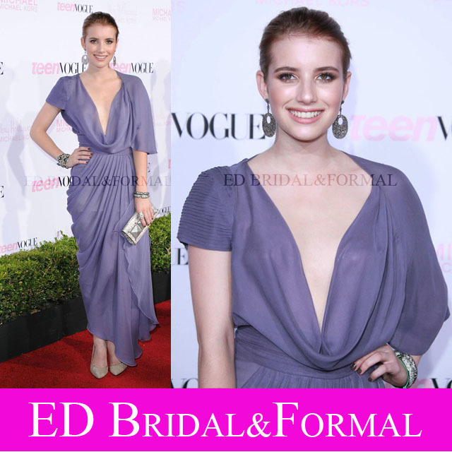 eb6a4ad66269 Emma Roberts Dress at 8th Annual Young Hollywood Party Red Carpet Tea Length  Chiffon Celebrity Evening Gown Cowl Neck Prom Dress-in Celebrity-Inspired  ...