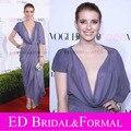 Emma Roberts vestido em 8th anual jovem Hollywood tapete vermelho festa chá de comprimento Chiffon celebridade vestido de noite Cowl Neck vestido de baile