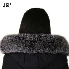 Зима реальный лисий мех воротника черный цвет мороза натуральная негабаритных меховым воротником шарф