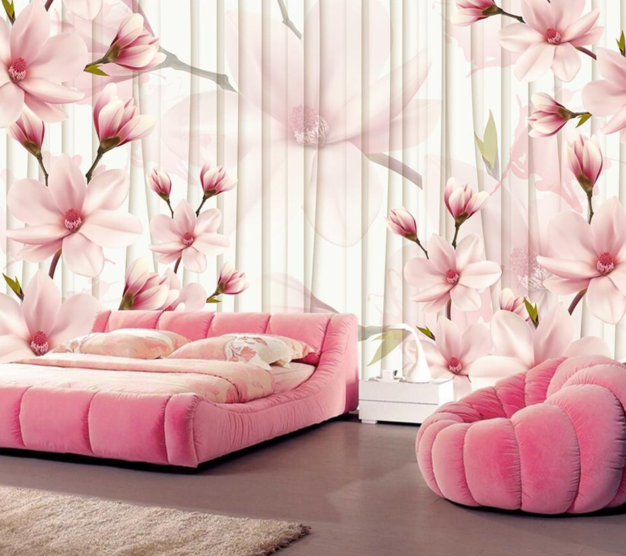 large murals,Modern and stylish 3D magnolia flower wallpaper,living ...