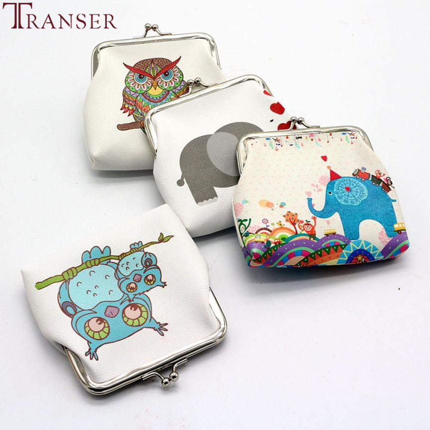 Transer Women Lady Retro Cute animal printing Vintage Leather Small Wallet Hasp Purse Clutch Bag wholesale drop shipping wu10