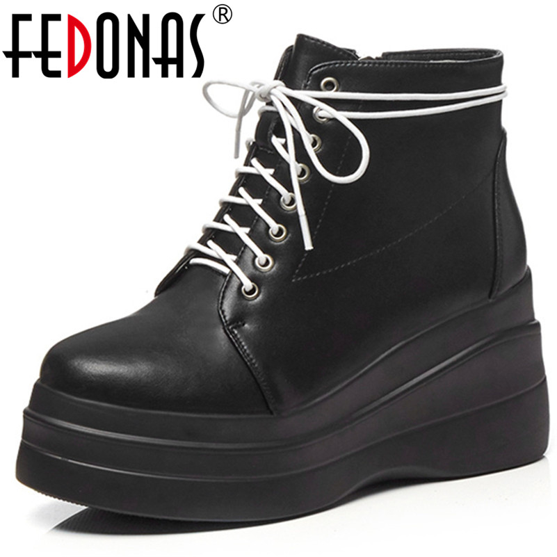 FEDONAS Fashion Punk Women Genuine Leather Ankle Boots Wedges High Heels Corss-tied Ladies Shoes Woman Party Night Club Boots FEDONAS Fashion Punk Women Genuine Leather Ankle Boots Wedges High Heels Corss-tied Ladies Shoes Woman Party Night Club Boots