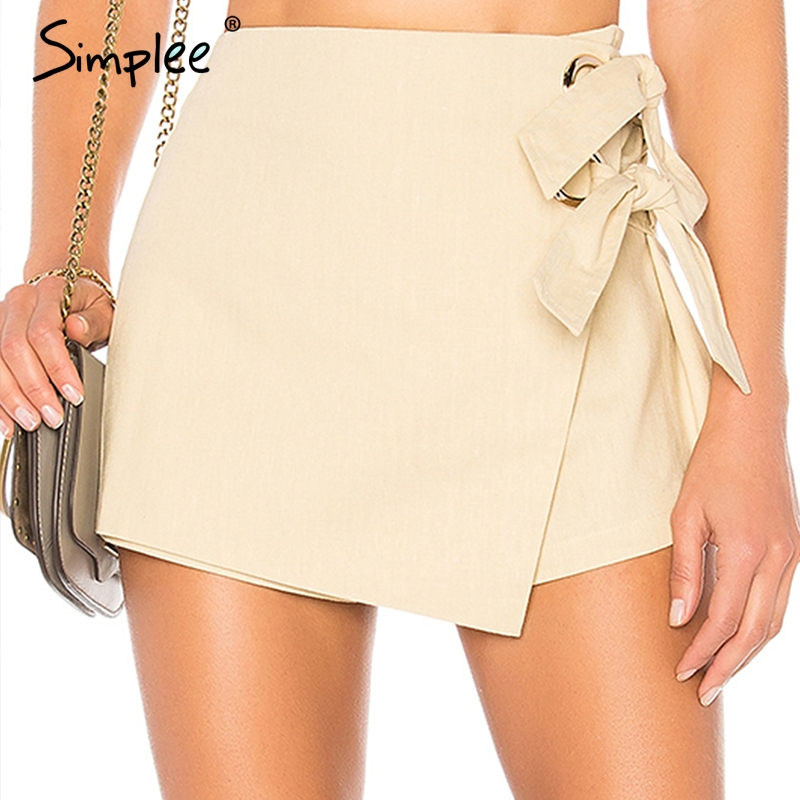 Simplee Fashion Wrap Sash Skirt Shorts Skort High Waist Sexy Bow Tie White Women Shorts 2018 Autumn Winter Asymmetrical Shorts