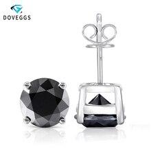 DovEggs  Sterling Solid 925 Silver 4CTW 8MM Black Moissanite Stud Earrings Push Back for Women 14K White Gold Post