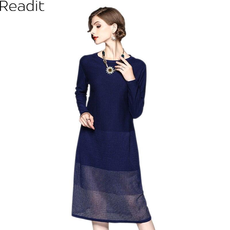 Readit Knitting Dress 2017 Winter Woman Dress Dark Blue Wine Red Knitted Dress Calf Length Hollow Out Bottom Casual Dress D2558 ombre circle calf length socks