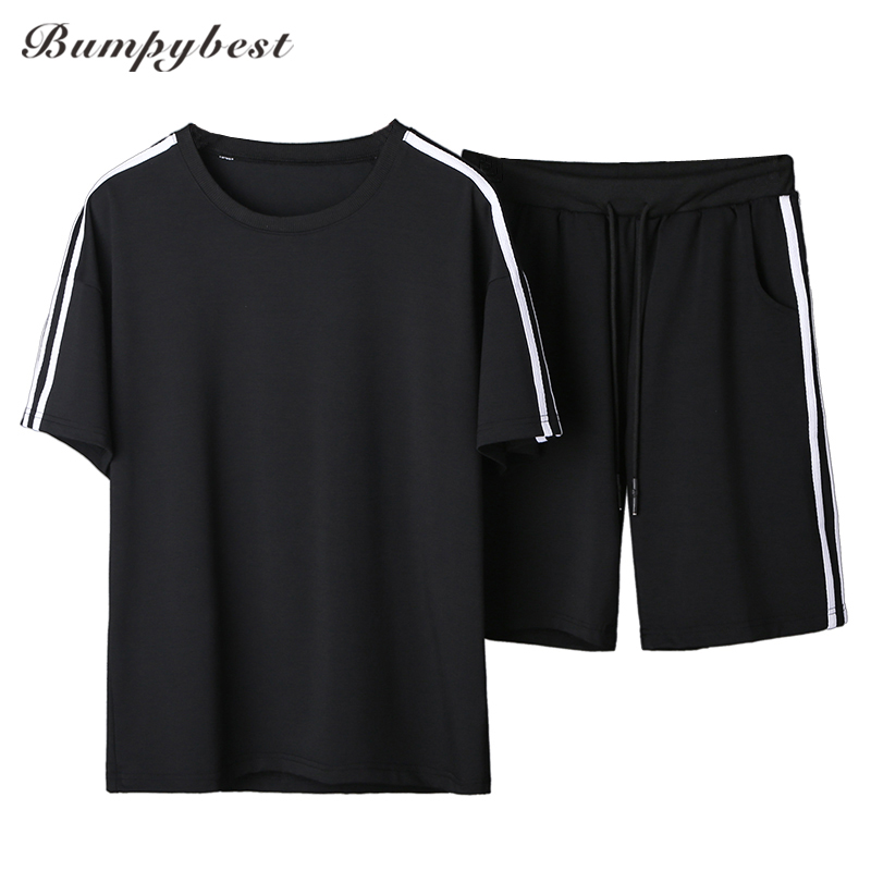 Bumpubeast 2018 Summer Mens T-shirt Tracksuit Short Sleeve T shirt+Shorts Two Piece Sportswear Sets Men Fitness Sweat Cotton 3XL