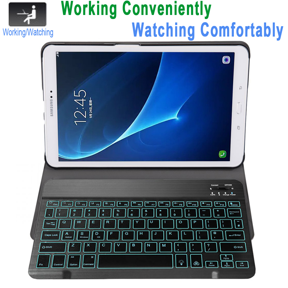 Image 2 - Case for Samsung Galaxy Tab A A6 10.1 2016 Keyboard Case T580 T585 SM T580 SM T585 Cover 7Color Backlit Bluetooth Keyboard FundaTablets & e-Books Case   -