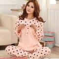 Oferta especial pink bow bolinhas conjuntos de pijama Apple para as mulheres pijamas onesies pijama dos ternos primavera outono