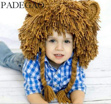 2017Creative Autumn And Winter Children Handmade Knitting Wool Wigs Baby Lion Head Hat Funny Halloween Gift gift children knitting wool hat red flower beanie cap autumn and winter hat with earflaps cn post