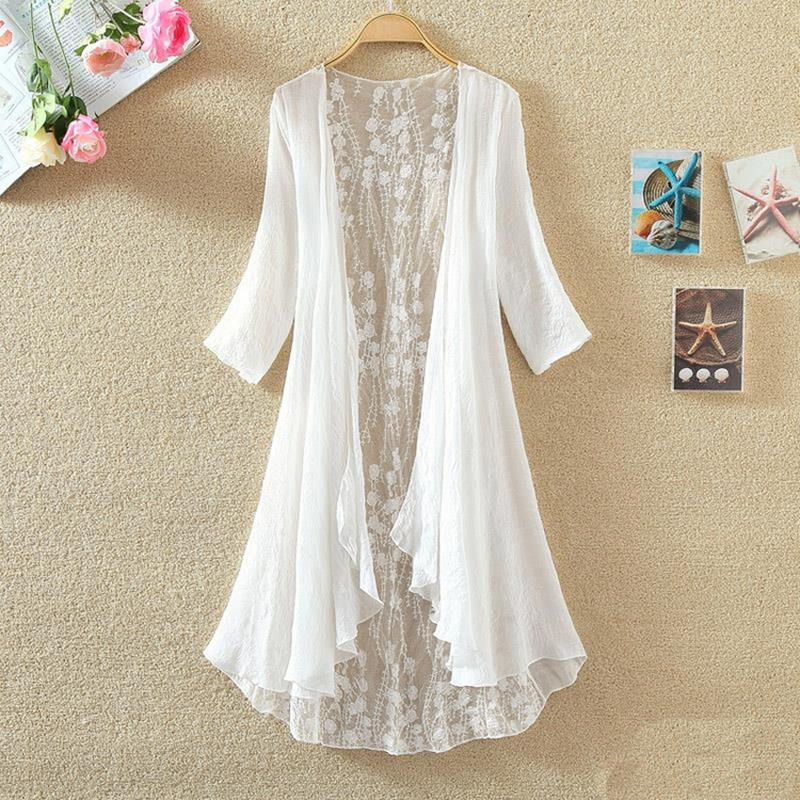Kimono Cardigan Blusa de Encaje Blanco Camisa Blusa Transparente 2017 Plus Size