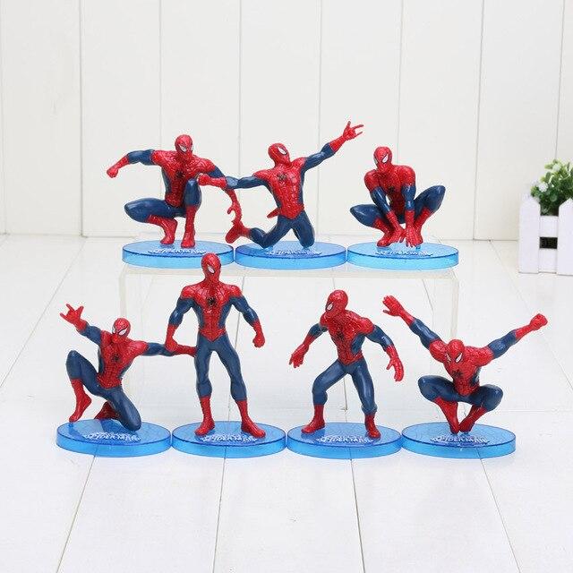 7 pçs/set 6-11 centímetros Spider-Man Figura The Avengers Spiderman Homem Aranha Figura de Ação DO PVC Brinquedos Grandes presente