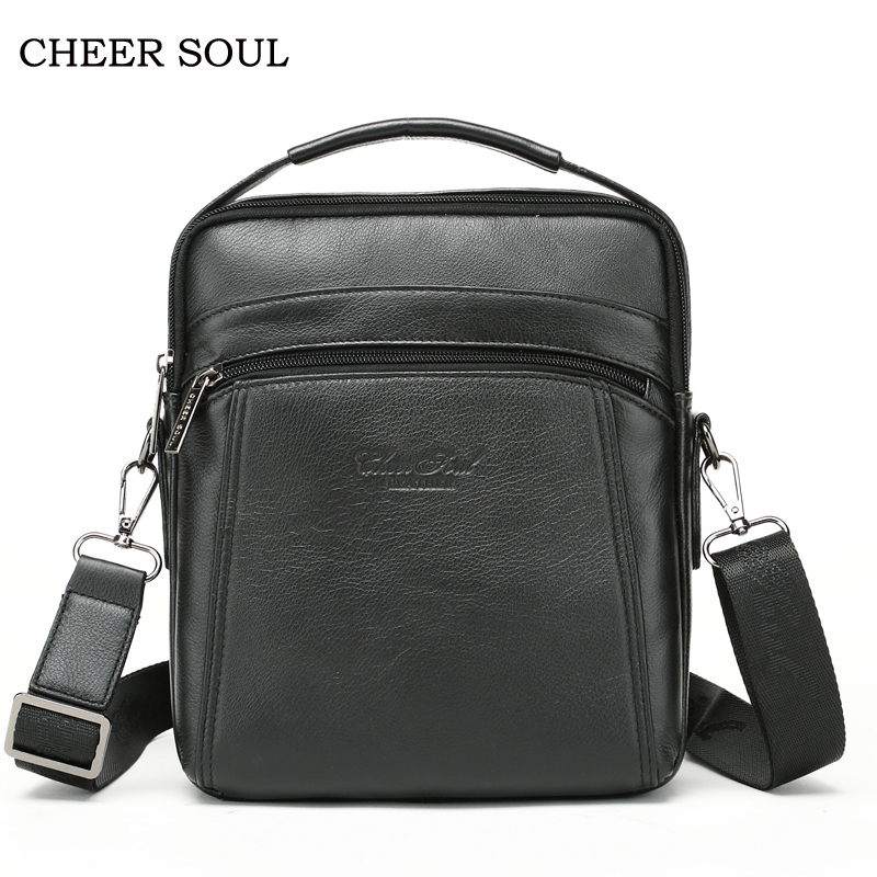 CHEER SOUL Genuine Leather Men Messenger Bag Men's Handbags Casual Business Male Single Shoulder Bags Man Travel Crossbody Bag