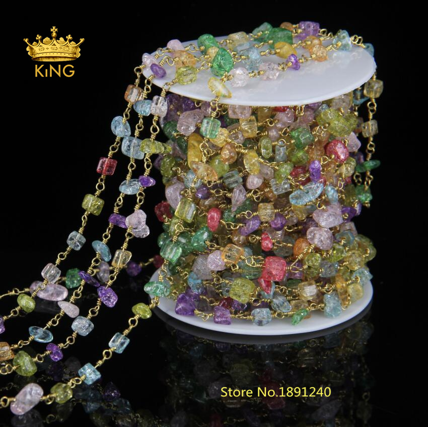 Rainbow Glass Chip Beads Chains Jewelry Plated Antique Bronze Wire Wrapped Links Chain Rosary Glass Nuggets