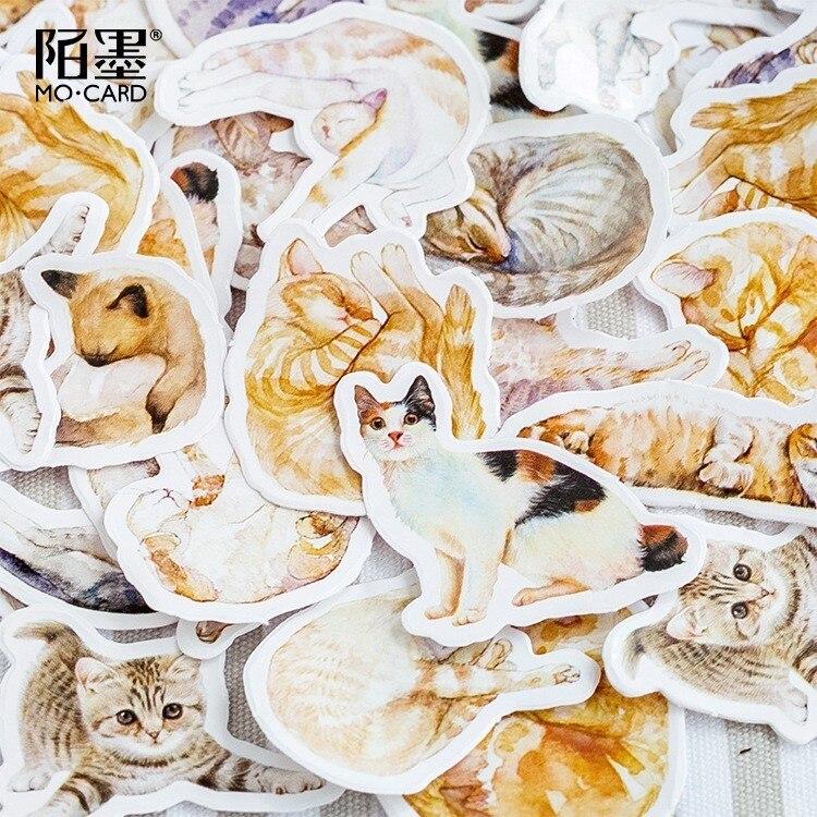 45PCS/box New Cute Sick Cat Paper Lable Sealing Stickers Crafts Scrapbooking Decorative Lifelog DIY Stationery