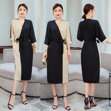 Mulberry Silk Dress Women Elegant Vintage 2019 Summer Casual Party Night Plus Size Clothing Bodycon Slim Midi Khaki Dresses
