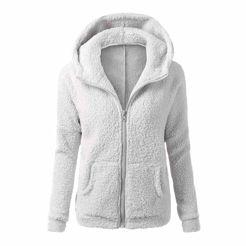 New Hot Women Fashion Warm Soft Fluffy Hooded Coat Ladies Casual Basic Zip Up Pocket Overcoat Jacket Outwear Tops
