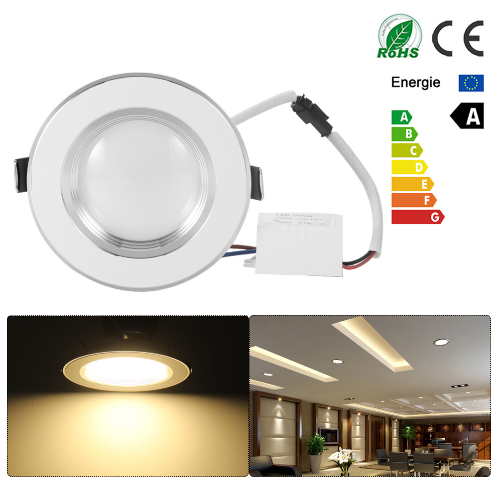 ultra slim dimmable 3w spot led white downlight flat lens. Black Bedroom Furniture Sets. Home Design Ideas