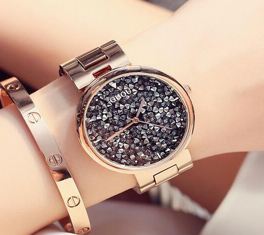 GUOU Relogio Mujer Luxury Ladies Watch Diamond Women's Watches Rose Gold Saat Stainless Steel Watch Clock Women relogio feminino guou watch luxury rose gold watch women watches multifunction women s watches clock women saat relogio feminino reloj mujer