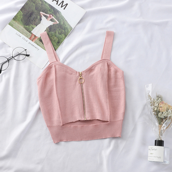 Tops Women Crop Top Club Sexy Zipper Knitting Camisole With Hole Female Tank Tops Ladies Sleeveless Solid Strap Top Women Tops