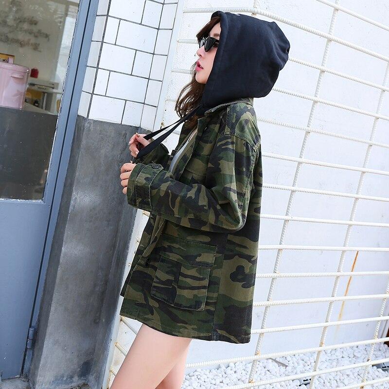 Utilitaire Femmes Longues Cordon Camouflage Capuchon Denim Et Hip Printemps En Manches À 2019 De Hop Manteaux Poches Vestes Vert Veste Zipper pqq0xg6wt