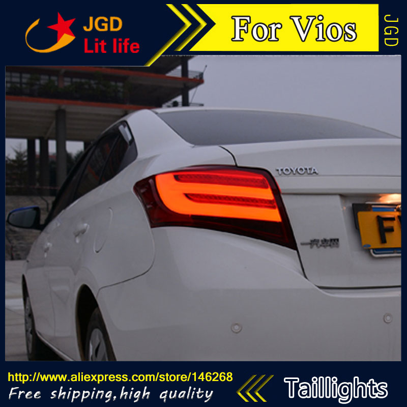 Car Styling tail lights for Toyota Vios taillights LED Tail Lamp rear trunk lamp cover drl+signal+brake+reverse