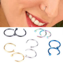 10PCS Hoop Nose Ring Studs Fashion Jewelry 18G 20G Steel Black Gold Rainbow Blue Plain New Arrival Medical Titanium(China)