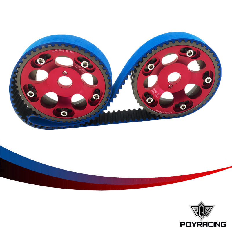 PQY RACING- HNBR Racing Timing Belt BLUE + Aluminum Cam Gear Red FOR Toyota 1JZ 1JZGTE 1JZ-GTE PQY-TB1005B+6531R vr racing hnbr racing timing belt