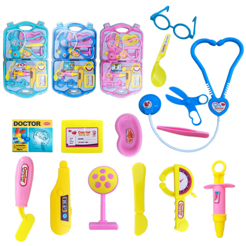 New 15 Pcs/Set Children Pretend Play Doctor Nurse Toy Set Portable Suitcase Medical Kit Kids Educational Role Play Classic Toy