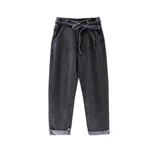 Image 2 - Summer Jeans Woman Vintage Plus Size High Waist Jeans Lace Up Boyfriend Jeans For Women Casual Denim Harem Pants Trousers C4238