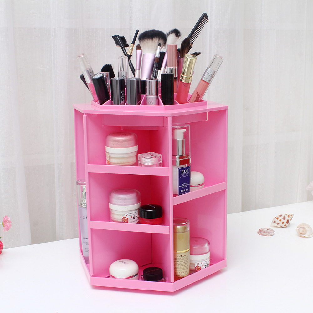 Polygon Storage Box Cosmetic Container Desktop Plastic Storage Boxes Makeup Organizer Jewelry Box Rotatable Free Shipping