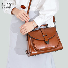 BRIGGS brand women genuine leather tote bag female fashion vintage real handbags pillow small shoulder bags
