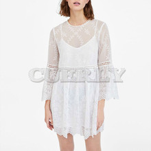Cuerly 2019 Summer White Lace Dress Long Sleeve 2 Piece Set Women Sexy Mini Embroidery Dress Short Tunic Beach Dresses embroidery flounce sleeve tunic dress