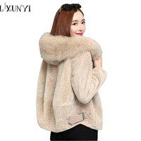 2018 Zima Faux Fur Coat Kobieta Fox Fur Collar Wełny Baranka płaszcz Plus Size Luźne M-3XL Zamek Grubsze Kurtki Z Kapturem Odzieży Wierzchniej