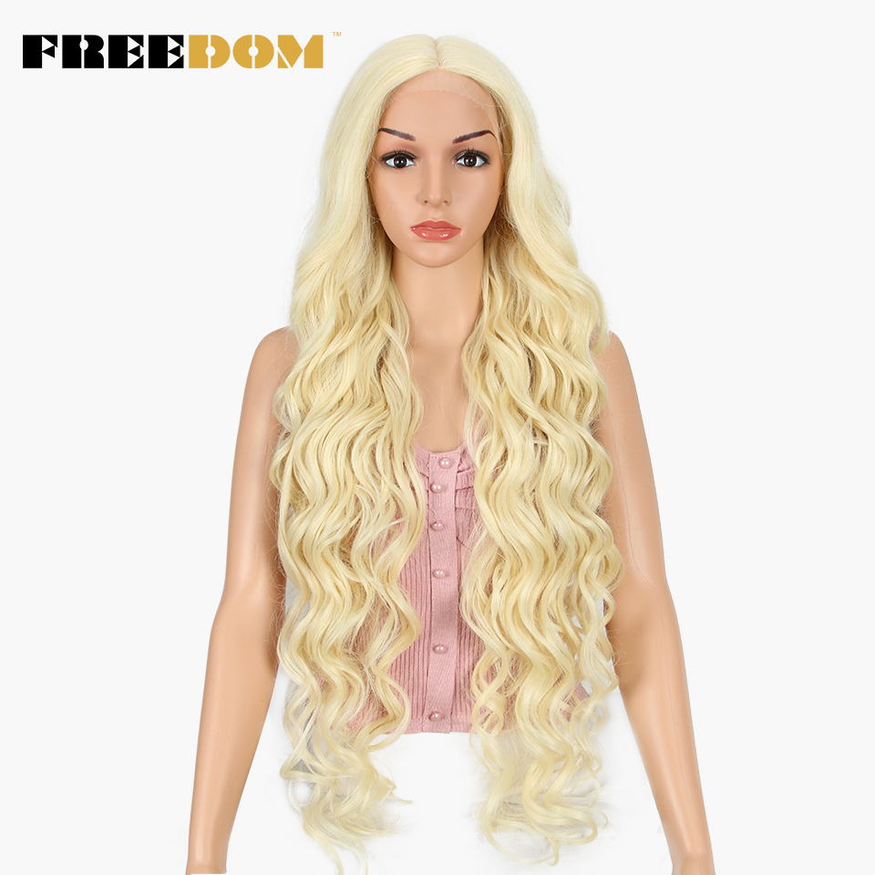 FREEDOM Synthetic Lace Front Wig 40 INCH Blonde Wig For Women Fantezi Long White Wig 613