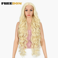 FREEDOM Synthetic Lace Front Wig 40 INCH Blonde Wig For Women Fantezi Long White Wig 613 Lace Front Wig Hot In The US Amazon