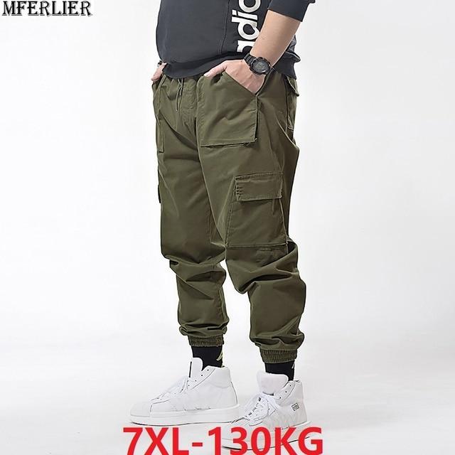 ฤดูใบไม้ผลิผู้ชาย Cargo กระเป๋ากางเกงดินสอกางเกงฤดูร้อน High Street PLUS ขนาด 6XL 7XL Mens Casual กีฬา Cool กางเกง Army ยืดสีเขียว
