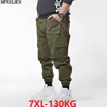 spring Men cargo pants pocket pencil pants summer high street plus size 6XL 7XL mens casual sports cool pants army green Stretch