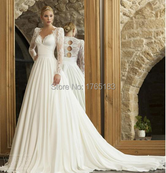 Elegant Simple Long Sleeve Wedding Dresses With Lace 2015: 2015 Elegant Cinderella V Neck Sheer Lace Long Sleeve A