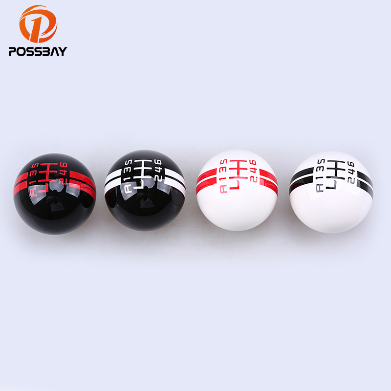POSSBAY Car Styling Red/White/Black Gear Stick Shift Knob Head Handle Cover 5/6 Speed Universal For Cars Interior Decoration skull head style spring car decoration red white