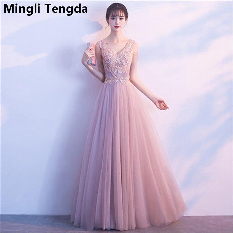 Mingli Tengda New V Neck Elegant   Bridesmaid     Dresses   Lace Long   Dress   for Wedding Party for Women robe demoiselle d'honneur 2018