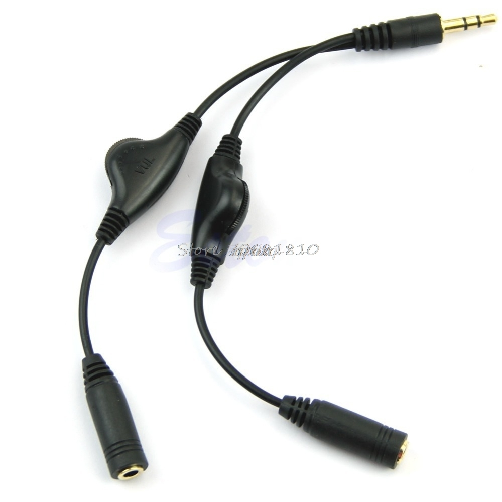 FolioGadgets Headphone Splitter Extension Cable 8inch 3.5mm Male to 2 Female Stereo Audio Cords with Volume Adjustment Control for Earphone Headset